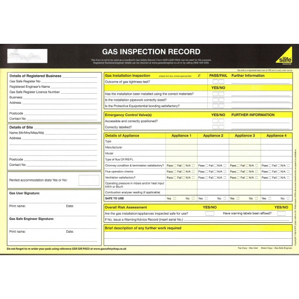 Gas Inspection Record Pad